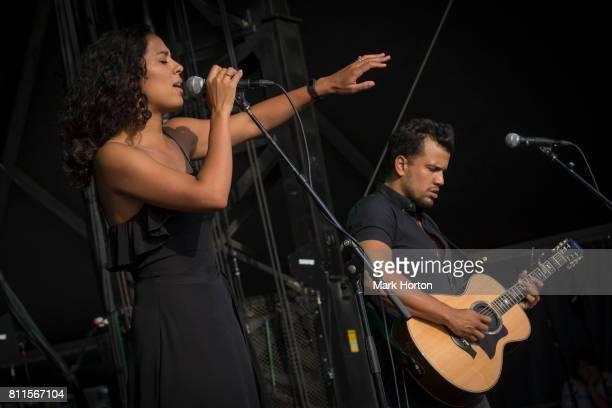 Amanda Sudano and Abner Ramirez of JOHNNYSWIM perfom on Day 4 of the RBC Bluesfest on July 9 2017 in Ottawa Canada