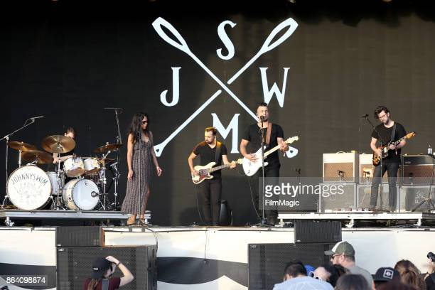 Amanda Sudano and Abner Ramirez of Johnnyswim perform at Piestewa Stage during day 1 of the 2017 Lost Lake Festival on October 20 2017 in Phoenix...