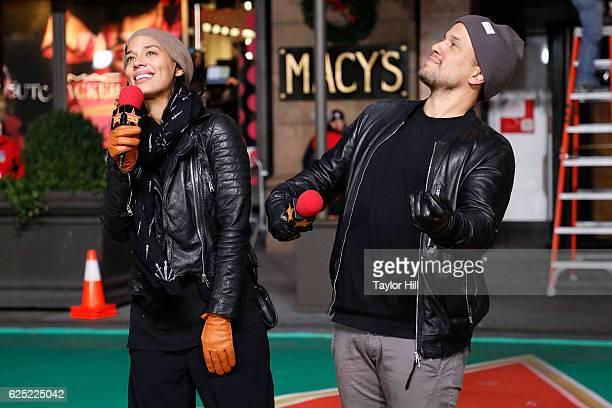 Amanda Sudano and Abner Ramirez of JOHNNYSWIM perform during Macy's Thanksgiving Day Parade rehearsals on November 22 2016 in New York City