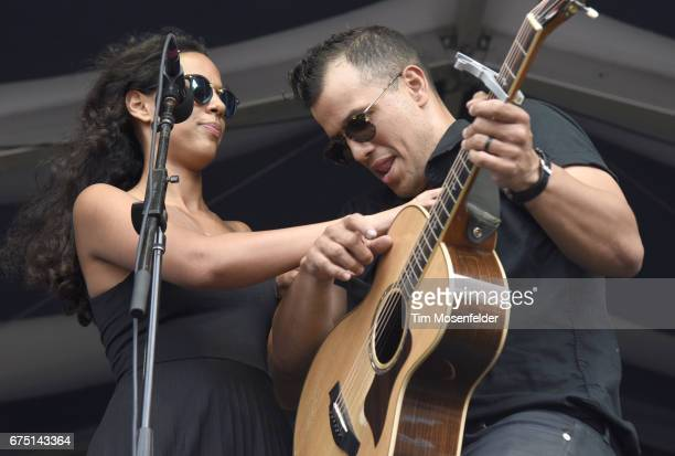 Amanda Sudano and Abner Ramirez of Johnnyswim perform during the 2017 New Orleans Jazz Heritage Festival at Fair Grounds Race Course on April 29 2017...