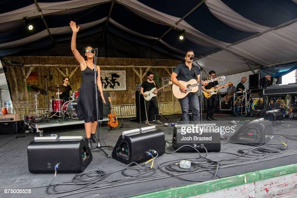 Amanda Sudano and Abner Ramirez of Johnnyswim performs at the New Orleans Jazz Heritage Festival at Fair Grounds Race Course on April 29 2017 in New...