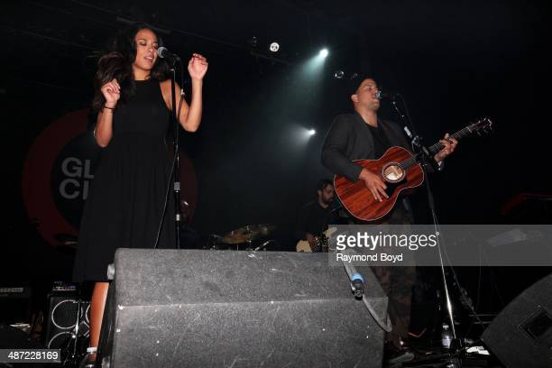 Amanda Sudano and Abner Ramirez of Johnnyswim performs during the Global Citizen Nights concert at the Vic Theatre on April 24 2014 in Chicago...