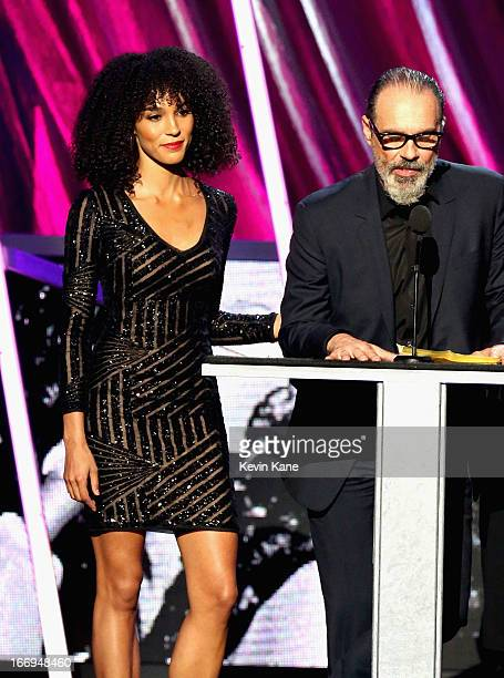 Amanda Sudano and Bruce Sudano family of the late Donna Summer inductee speak onstage during the 28th Annual Rock and Roll Hall of Fame Induction...