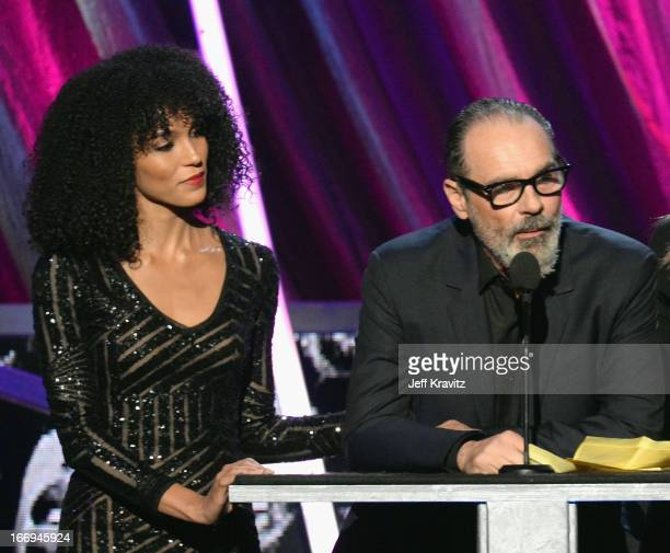 Amanda Sudano and producer Bruce Sudano speak onstage at the 28th Annual Rock and Roll Hall of Fame Induction Ceremony at Nokia Theatre LA Live on...