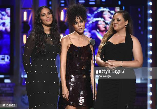 Amanda Sudano Brooklyn Sudano and Mimi Sommer speak onstage during the 72nd Annual Tony Awards at Radio City Music Hall on June 10 2018 in New York...