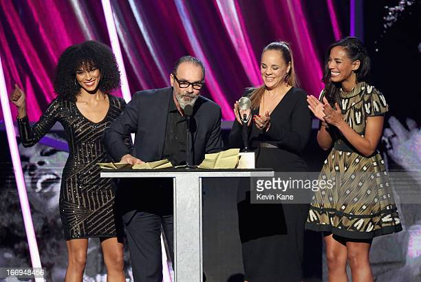 Amanda Sudano Bruce Sudano Mimi Sommer and Brooklyn Sudano family of the late Donna Summer inductee speak onstage during the 28th Annual Rock and...