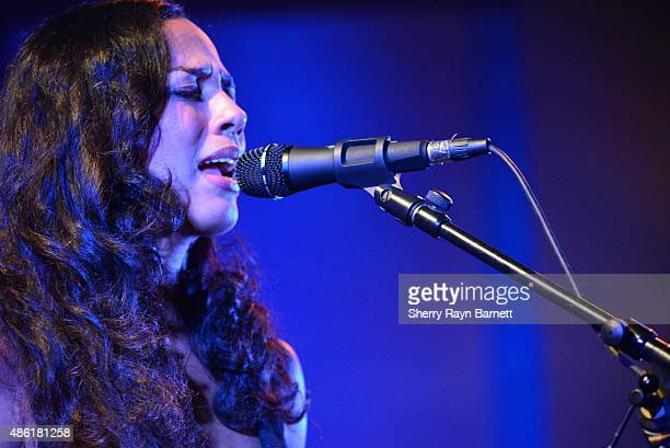 Amanda Sudano of Johnnyswim perform at the Levitt Pavilion in Los Angeles California stage on July 30 2015