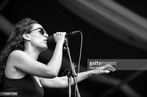 Amanda Sudano of Johnnyswim performs at the New Orleans Jazz and Heritage Festival at the Fair Grounds Race Course in New Orleans Louisiana on April...