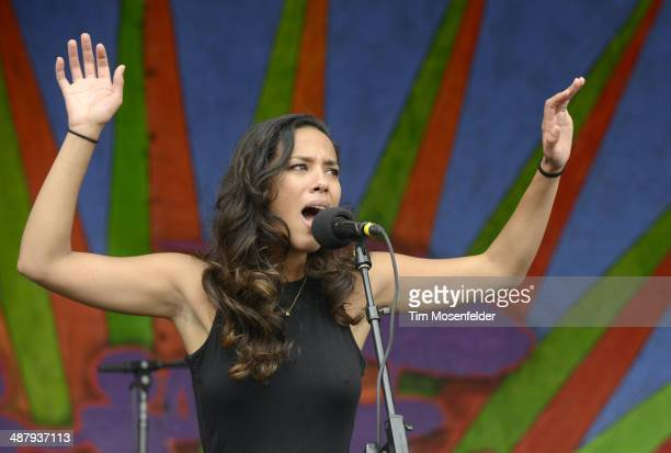 Amanda Sudano of Johnnyswim performs during Day 5 of the 2014 New Orleans Jazz Heritage Festival at Fair Grounds Race Course on May 2 2014 in New...