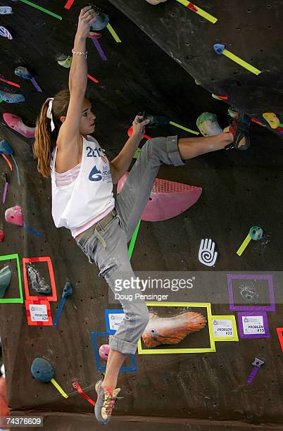 Amanda Sutton of Flower Mound, Texas climbs one of the problems presented during the Pro Bouldering Qualifier during The Teva Mountain Games on June...