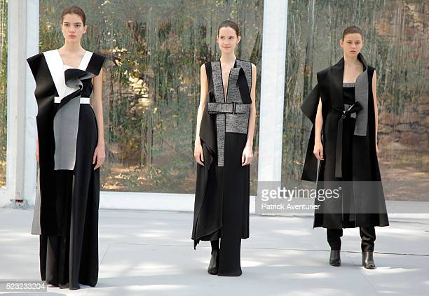 Amanda Svart Sweden fashion designer speaks with jury members as models present her creations to the jury during the 31th edition of the Festival of...