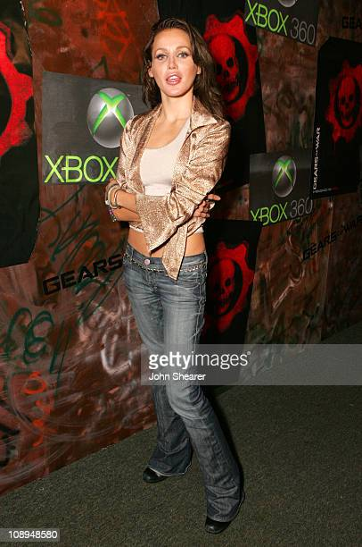 Amanda Swisten during Xbox 360 Gears of War Launch Party Red Carpet at Hollywood Forever Cemetery in Hollywood California United States
