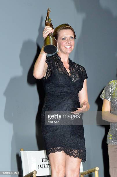Amanda Tapping attends the Jules Vernes Awards 20th Anniversay Ceremony - 'Tribute To Richard Dean Anderson' at the Grand Rex on October 10, 2012 in...