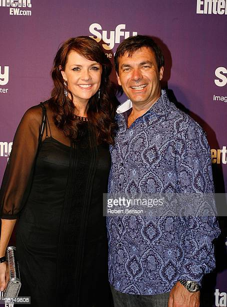 Amanda Tapping with guest at the Entertainment Weekly and Syfy invade ComicCon party at Hotel Solamar on July 25 2009 in San Diego California