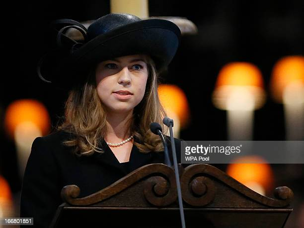 Amanda Thatcher granddaughter of former British Prime Minister Margaret Thatcher delivers a reading during the funeral service in St Paul's Cathedral...