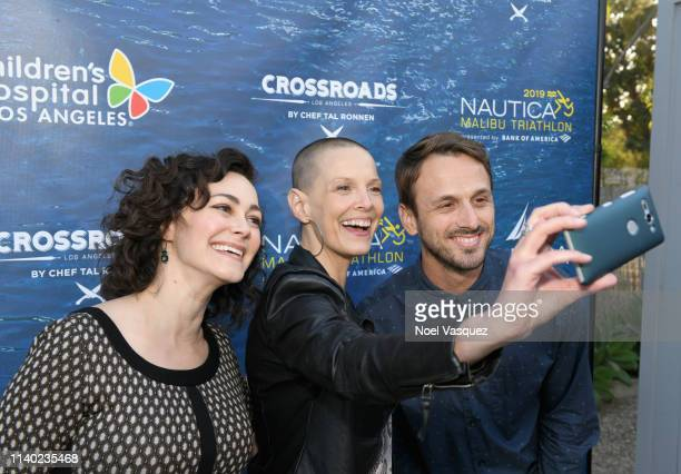 Amanda Troop Sharon Blynn and Adam McArthur attend a benefit dinner for the Nautica Malibu Triathlon and Children's Hospital Los Angeles at the...