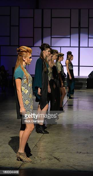 Amanda Valentine of Project Runway presents her collection at the TJ Martell Foundation 2013 Nashville Is Nowville charity event at Corporate Flight...