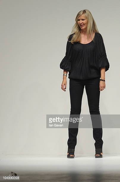 Amanda Wakeley appears at the end of the runway after her Spring/Summer 2011 fashion show at Somerset House during London Fashion Week on September...