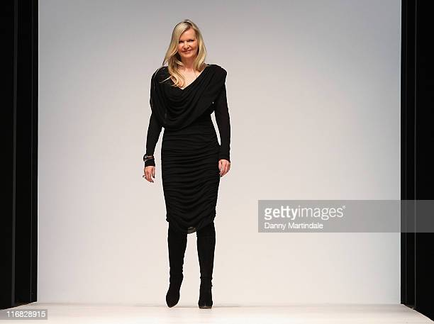 Amanda Wakeley walks the runway at the end of Amanda Wakeley show for London Fashion Week Autumn/Winter 2010 at Somerset House on February 23 2010 in...