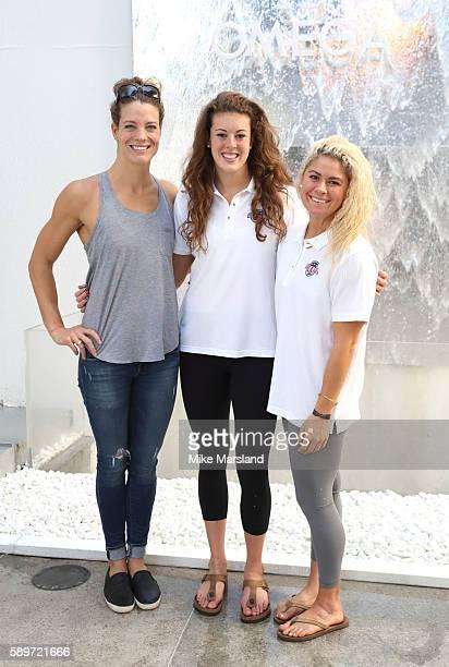 Amanda Weir Alison Schmitt and Elizabeth Beisel of the Team USA Swim team OMEGA ambassador Jessica EnnisHill pictured at OMEGA House Rio 2016 on...