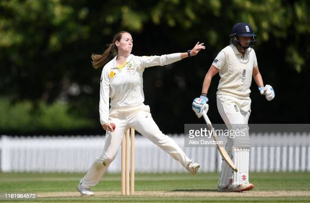 Amanda Wellington of Australia A bowls during Day Three of the International Friendly match between England Women and Australia A Women at Millfield...