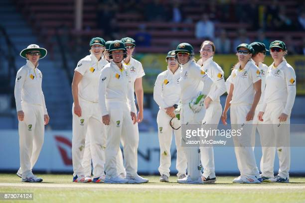 Amanda Wellington of Australia celebrates with team mates after dismissing Tammy Beaumont of England during day four of the Women's Test match...