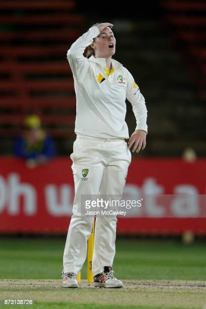 Amanda Wellington of Australia reacts during day four of the Women's Test match between Australia and England at North Sydney Oval on November 12...