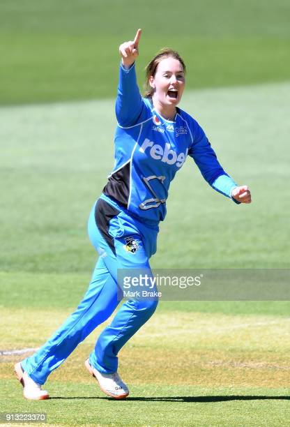 Amanda Wellington of the Adelaide Strikers celebrates after taking the wicket of Ashleigh Gardner of the Sydney Sixers during the Women's Big Bash...