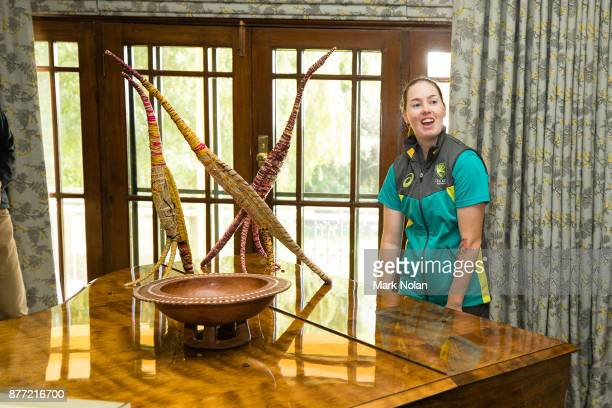 Amanda Wellington of the Southern Stars plays the piano during an Australian Women's cricket team meet and greet with the Australian Prime Minister...