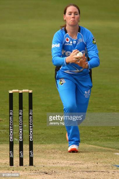 Amanda Wellington of the Strikers bowls during the Women's Big Bash League match between the Adelaide Strikers and the Sydney Sixers at Hurstville...