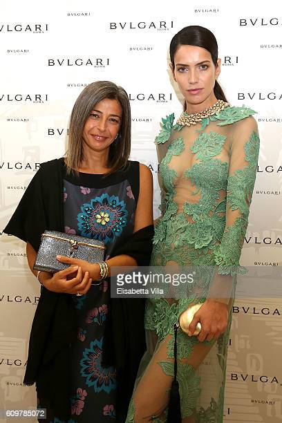 Amanda Wellsh and Lucia Boscaini attend the Bvlgari Tribute To Spanish Steps Opening Event on September 22 2016 in Rome Italy