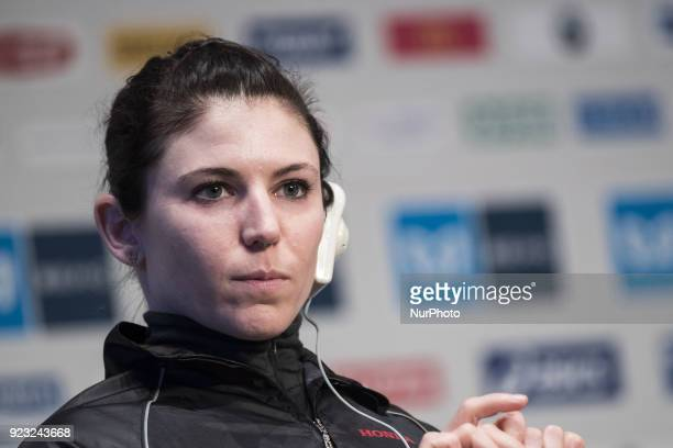 Amanda Wheelchair Athletes answers questions during a press conference for this weekend's Tokyo marathon in Tokyo on February 23 2018 The annual...