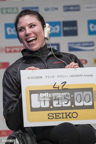 Amanda Wheelchair Athletes shows her target time of 14200 during a press conference for this weekend's Tokyo marathon in Tokyo on February 23 2018...