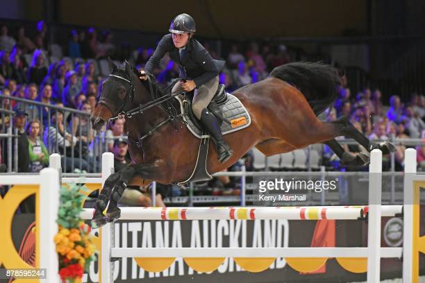 Amanda Wilson rides Caretino Jewel in the City Of Sales Classic Winning Round class during 2017 Equitana Auckland on November 25 2017 in Auckland New...