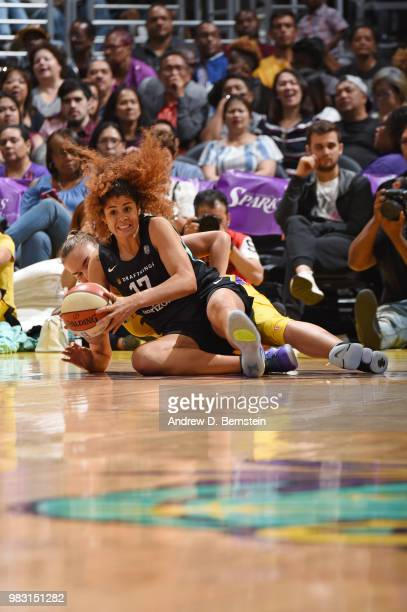 Amanda Zahui B #17 of the New York Liberty battles for possession against the Los Angeles Sparks on June 24 2018 at STAPLES Center in Los Angeles...