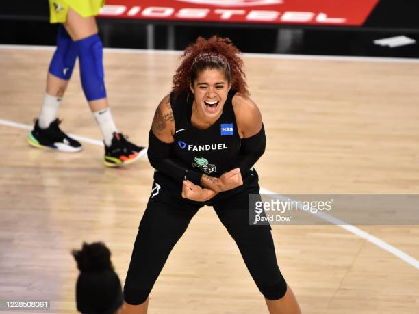 Amanda Zahui B. #17 of the New York Liberty celebrates during the game against the Dallas Wings on September 13, 2020 at Feld Entertainment Center in...
