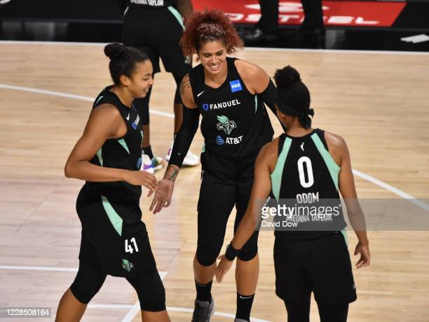 Amanda Zahui B. #17 of the New York Liberty celebrates with teammates during the game against the Dallas Wings on September 13, 2020 at Feld...