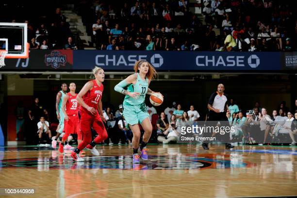 Amanda Zahui B #17 of the New York Liberty handles the ball against the Washington Mystics on July 21 2018 at Westchester County Center in White...