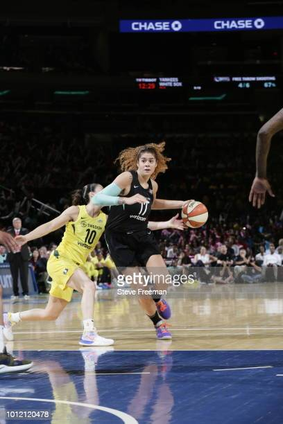 Amanda Zahui B #17 of the New York Liberty handles the ball against the Seattle Storm during a game played on August 6 2018 at Madison Square Garden...