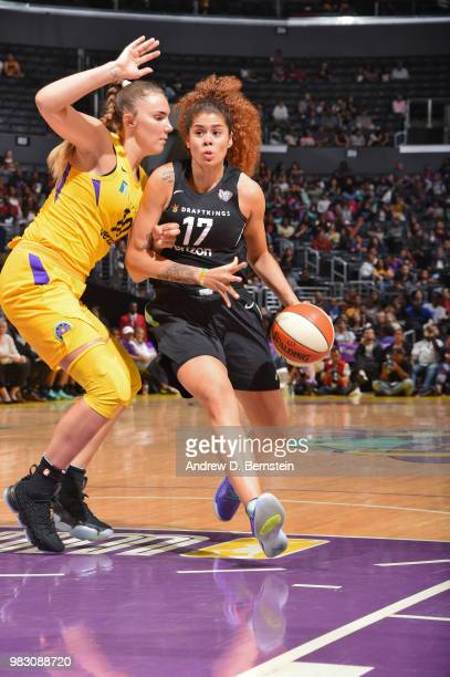 Amanda Zahui B #17 of the New York Liberty handles the ball against the Los Angeles Sparks on June 24 2018 at STAPLES Center in Los Angeles...