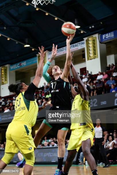 Amanda Zahui B #17 of the New York Liberty handles the ball against the Seattle Storm on July 3 2018 at Westchester County Center in White Plains New...