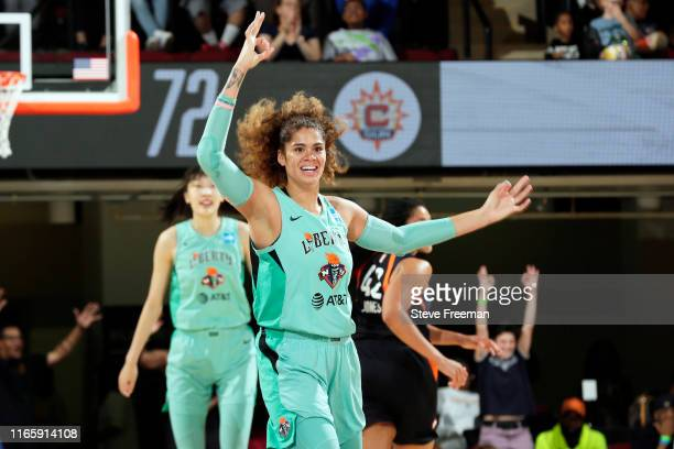 Amanda Zahui B. #17 of the New York Liberty reacts to a play during the game against the Connecticut Sun on August 30, 2019 at the Westchester County...