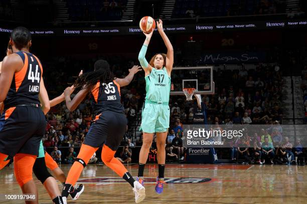 Amanda Zahui B #17 of the New York Liberty shoots the ball against the Connecticut Sun on August 1 2018 at the Mohegan Sun Arena in Uncasville...