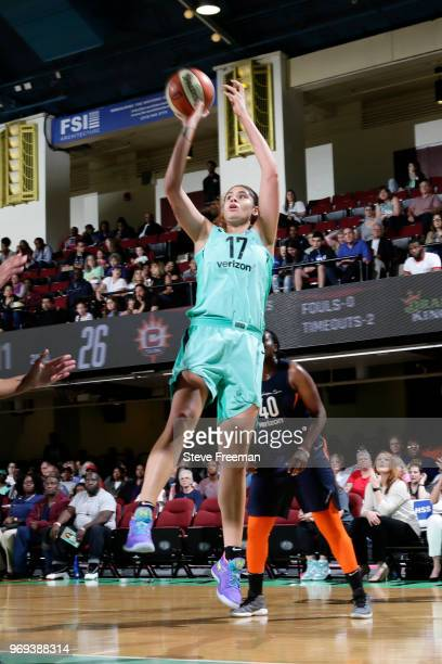 Amanda Zahui B #17 of the New York Liberty shoots the ball against the Connecticut Sun on June 7 2018 at Westchester County Center in White Plains...