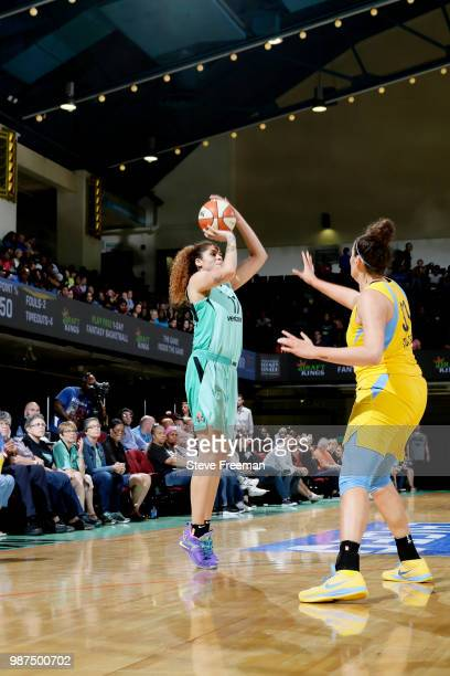 Amanda Zahui B #17 of the New York Liberty shoots the ball against the Chicago Sky on June 29 2018 at Westchester County Center in White Plains New...