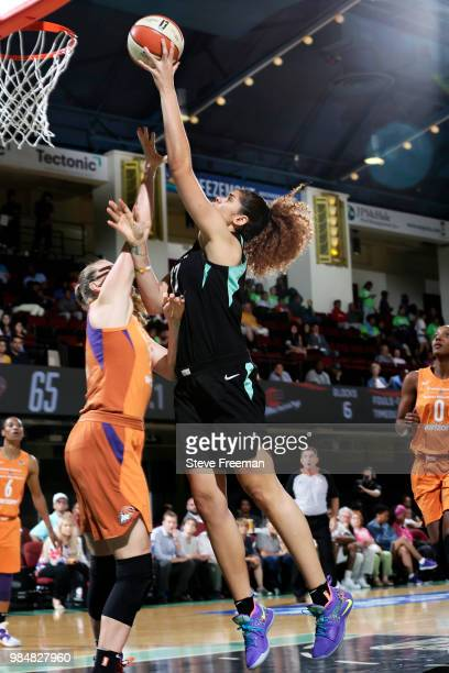 Amanda Zahui B of the New York Liberty goes to the basket against the Phooenix Mercury on June 26 2018 at Westchester County Center in White Plains...