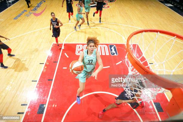 Amanda Zahui B of the New York Liberty goes to the basket against the Washington Mystics on June 28 2018 at Capital One Arena in Washington DC NOTE...