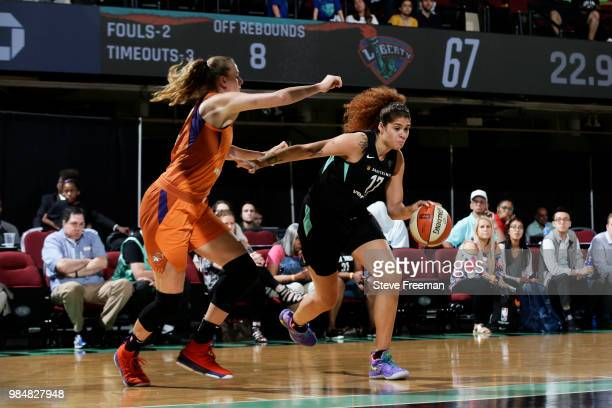 Amanda Zahui B of the New York Liberty handles the ball against the Phoenix Mercury on June 26 2018 at Westchester County Center in White Plains New...