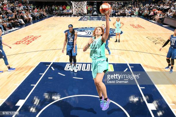 Amanda Zahui B of the New York Liberty shoots the ball against the Minnesota Lynx on June 16 2018 at Target Center in Minneapolis Minnesota NOTE TO...