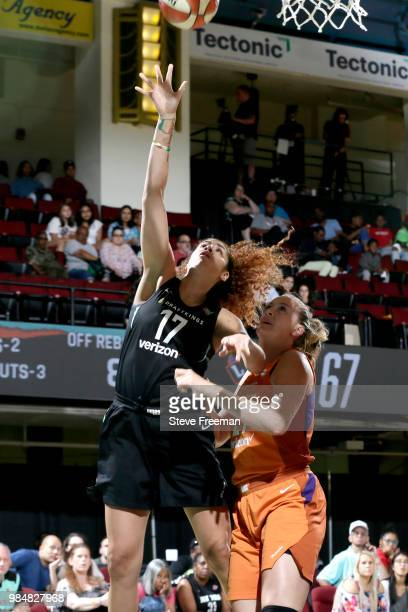 Amanda Zahui B of the New York Liberty shoots the ball against the Phoenix Mercury on June 26 2018 at Westchester County Center in White Plains New...